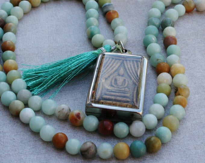Buddha Amulet Mala Amazonite, Recitation Mala, 108 beaded Mala, Mala, Prayer Mala, Prayer Necklace, Multiple Stone Options, Gift Yoga