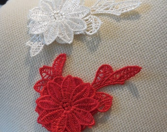 A Small double layers Red or off white floral lace Applique lace motif is for sale