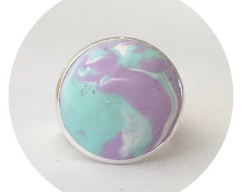 Mint loves Lilac Handmade Polymer Clay Ring