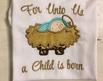 Christmas Shirt for baby girl // Manger Scene Shirt Onesie Bodysuit // Baby Jesus Shirt Onesie // Girl Christmas Shirt Onesie
