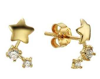 14k Solid Yellow Gold Stud Earrings Cunstel 7939 Charming Star Design Lovely