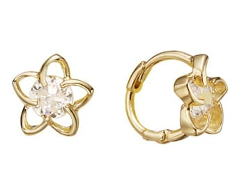 14k Solid Yellow Gold Hoop Earrings Verre 6091 Charming Flower Design Lovely