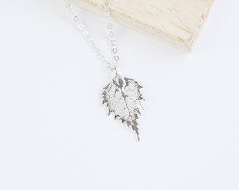 Birch, Genuine Leaf Necklace, Leaf Pendant, Silver Leaf, Rose Gold Leaf, Copper Leaf, Yellow Gold Leaf, Choose Your Finish, Birch Leaf