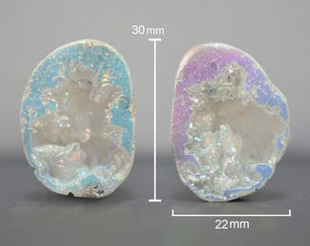 Agate Geode Pairs, Si Opal, Rainbow, Set of Stones, 30 x 22 mm of each, For Jewelry Making & Wire Wrapping, Sparkling Druzy Geode - DS1171