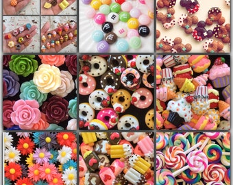 Mixed 100pcs Sweets Cabochon Mix Assorted Resin Kawaii Miniature Sweets Cabochon Set Polymer Clay Sweets Cellphone Deco