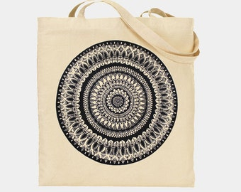 Lovely Hand Drawn and Screen Printed Mandala on a Long Handled Cotton Tote Bag