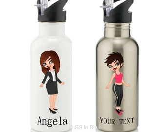 Personalised caricature gift - water bottle