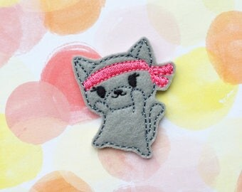 Cat Felties, Kawaii Cat, Grey Kitty, Ninja Kitten, Karate Cat, Animal Felties, Felt Applique, Embroidered Applique