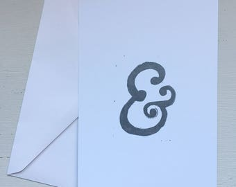 Set of Three Note / Post Cards with Envelopes - Ampersand Lino Print