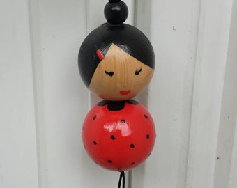Japanese doll red with black polka dots