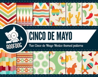Cinco de mayo digital paper | Mexican fiesta patterns | Piñata party | Taco Tuesday scrapbook| Mexico pattern | Tribal paper commercial use