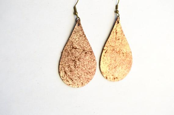 Leather Teardrop Dangle Earrings:  Distressed Copper Large Leather Tear Drop  Earrings--Lightweight Leather Earrings