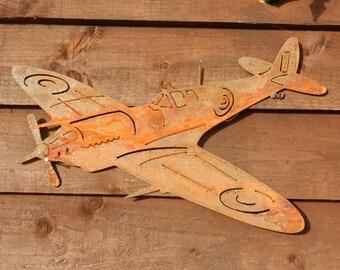 RAF Spitfire (mini) Rusty Metal Garden Art / WW11 Spitfire Plane Gift / Battle of Britain / World War Two Aircraft / Garden Decoration