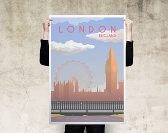 London Travel Poster, Large Print, Canvas Print, Wall Art, Poster, Home Decor, Print Poster, Gift, Digital Art Print