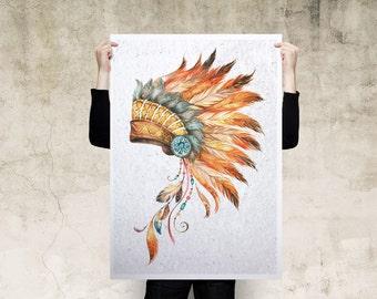 Headdress Watercolour Art Print Poster