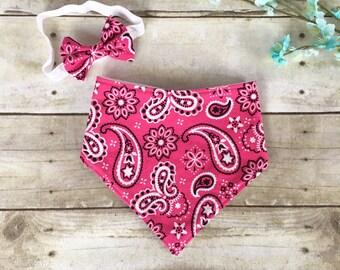Pink Bandana Bib, Matching Pink Bib and Bow, Pink Paisely Bib, Pink Paisley Bow