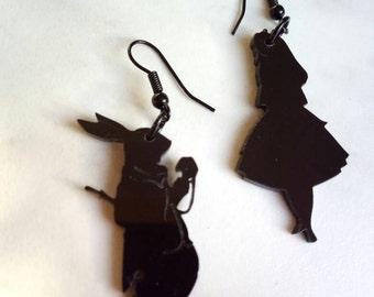 Alice in Wonderland earrings pendants in plexiglass