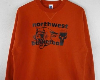 RARE!!! Vintage Northwest Basketball Big Logo Crew Neck Orange Colour Sweatshirts Hip Hop Swag L Size