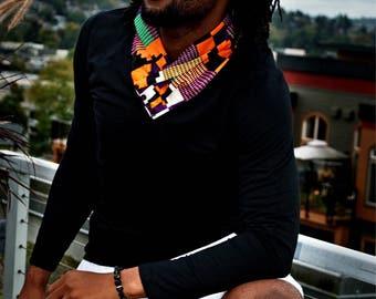 Long Sleeve African Print Collar Shirt
