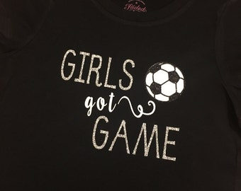 girls soccer shirt, soccer shirt for girls, girls got game, soccer ball, red shirt, glitter, silver