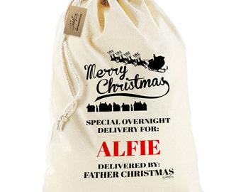 Personalised Christmas Sack - Merry Christmas Santa Sack Christmas Stocking Gift Bag