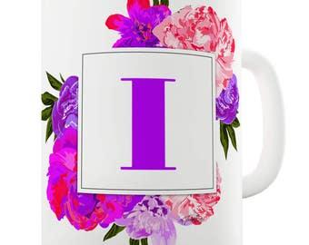 I Floral Letter Border Initial Ceramic Funny Mug