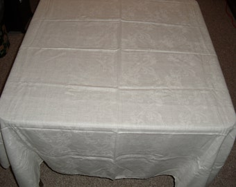 11A)  Large Buffet White Tablecloth.