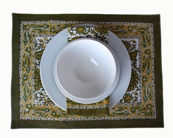 Beautiful wood-block printed Indian Paisley placemats. Fully backed with white cotton.