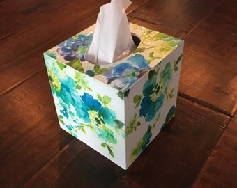 Tissue box cover wooden decoupaged spa blue white floral bathroom kitchen