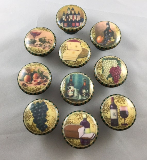 1.5 inch French wine theme cabinet knobs drawer pulls hunter