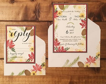 Fall Wedding Invitations // Autumn Wedding Invitations // Custom Wedding Invitation