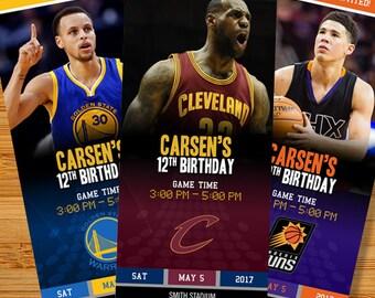 NBA Custom Ticket Birthday Party Invitations