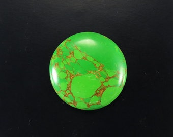 38Cts 32X32X6mm Natural Mojave Mohave Green Copper Turquoise Round Shape Gemstone Semi Precious Stone Cabochon Jewelry Making Loose Gemstone
