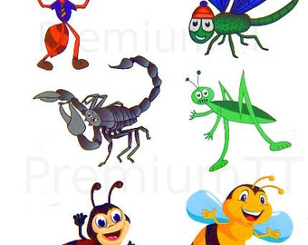 Premium Insect Nature Temporary Tattoos, Bug Party Favors: Ladybug, Bumblebee, Scorpion, Ant, Grasshopper