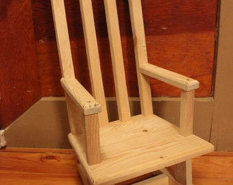 Baby Rocking Chair, Baby Rocker, Unfinished Rocking Chair, Raw Wood Rocker, Rustic Rocking Chair, Wooden Rocking Chair, Child Rocking Chair