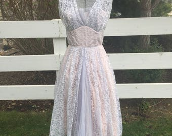 Vintage 1950's Party Summer Lace & Tafetta Dress