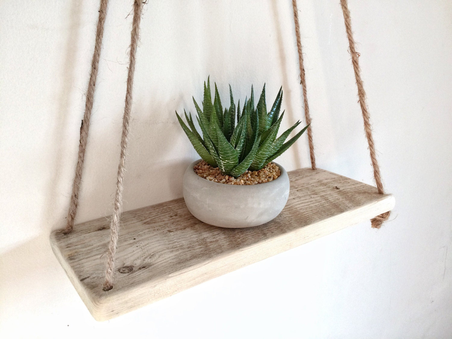 Floating Jute String Rope Shelf Reclaimed Hanging Pallet Wood