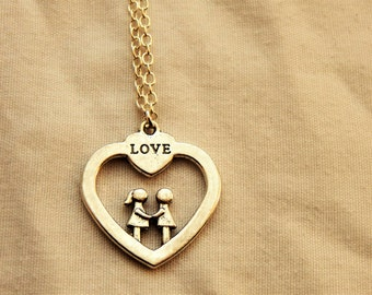 Silver heart Shaped Love Necklace
