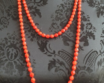 Stunning Vintage 1920s Flapper Bright Red Faceted Glass Bead Very Long Necklace