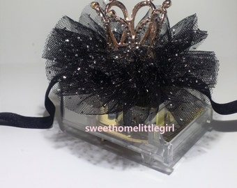 black tulle,black tulle headband,crown headband,elastic headband,black color tulle