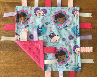 Doc McStuffins Minky Baby Tag Blanket // Security Blanket // Ribbon Blanket // Teething Blanket