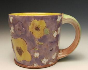 Puffy Floral Earthenware mug. Wheel thrown, food safe mug made by Kaitlyn Brennan