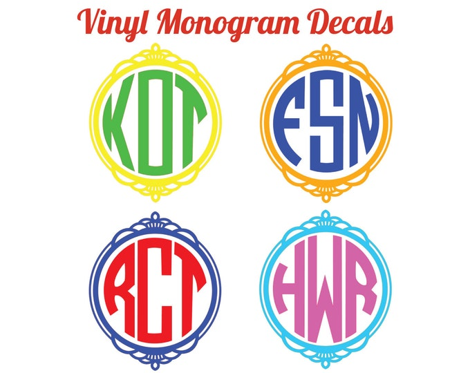 Fancy Frame 3-Letter Monogram 2-color decals for Yetis, mugs, car, school supplies, etc. sticker