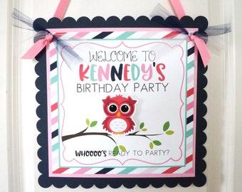 Slumber Party Welcome Sign, Owl Welcome Sign, Pajama Party Welcome Sign,  Sleepover Party Welcome Sign, Door Sign,