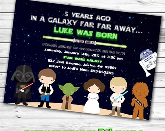 Star Wars Invitation, Star Wars Birthday Invitation, Star Wars Birthday Party, Jedi Birthday, Galaxy Wars Birthday Party Invite, Printable