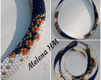 Beaded rope necklace. White, blue and gold necklace. Crochet rope necklace
