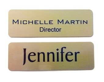 Solid Brass Magnetic Name Tags - Gold Colored