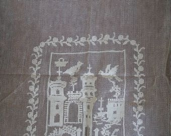 Vintage Antique Edwardian French original embroidered lace/ Antique Lace Curtain