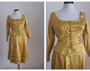 1950s skirt & blouse   2 piece dress set     50s silk taffeta dress