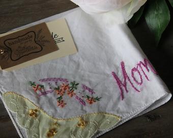 """Vintage Embroidered Hankie - """"Mom"""""""